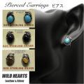 クリックポストのみ送料無料!ピアス シルバー925 ターコイズ/オニキス/タイガーアイ イヤリング インディアンジュエリー Native American Style Sterling Silver Pierced Stud Earrings Turquoise/Onyx/Tiger's Eye WILD HEARTS Leather & Silver(ID se3554)