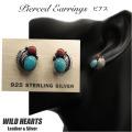 クリックポストのみ送料無料!インディアンジュエリー ピアス シルバー925 ターコイズ&レッドコーラル Native American Style Turquoise&Red Coral Sterling Silver Pierced Earrings WILD HEARTS Leather&Silver(ID se1562)