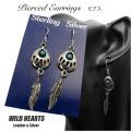 ピアス ベアパウ&フェザーピアス インディアンジュエリー シルバー925/ターコイズ Turquoise Sterling Pierced Earrings/Bear Paw/Native American WILD HEARTS Leather&Silver(ID se4104)