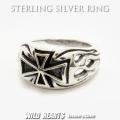 クリックポストのみ送料無料! シルバーリング メンズ シルバー925 リング 指輪 シルバーアクセサリー アイアンクロス 鉄十字架 ファイヤー Men's Solid 925 Sterling Silver Ring Biker Punk Iron Cross WILD HEARTS Leather&Silver (ID sr0779r82)