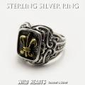 クリックポストのみ送料無料! シルバーリング メンズ シルバー925 リング 指輪 シルバーアクセサリー フレア ユリの紋章 Men's Solid 925 Sterling Silver Ring Biker Fleur-de-Lis WILD HEARTS Leather&Silver (ID sr0791r251)