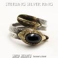 クリックポストのみ送料無料!シルバーリング シルバー925 オニキス イーグルフェザー 羽 フリーサイズ ネイティブ Sterling Silver Onyx Ring Eagle Native American Style Onyx  GOOD VIBRATIONS (ID sr3701)