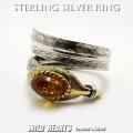 クリックポストのみ送料無料!シルバーリング シルバー925 琥珀 イーグルフェザー 羽 フリーサイズ ネイティブ Sterling Silver Ring Eagle Feather Native American Style Amber GOOD