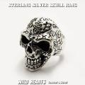メンズ スカル シルバーリング シルバー925 リング Silver925 ビッグサイズ ドクロ 髑髏 Men's Solid 925 Sterling Silver Ring Skull Biker Punk WILD HEARTS Leather&Silver (ID sr0783r89)