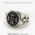 クリックポストのみ送料無料! メンズ シルバーリング 指輪 シルバー925 Silver925 十字架 フレア クロス 百合の紋章 Sterling Silver Ring/Fleur-de-lis/Cross WILD HEARTS Leather&Silver (ID trg0613)
