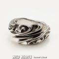 クリックポストのみ送料無料!シルバーリング メンズ シルバー925 指輪 シルバーアクセサリー フレア ユリの紋章 Men's Sterling Silver 925 Ring Biker Fleur-de-Lis WILD HEARTS Leather&Silver (ID trs0516)