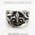 クリックポストのみ送料無料!シルバーリング メンズ シルバー925 指輪 シルバーアクセサリー フレア ユリの紋章 Men's Sterling Silver 925 Ring Biker Fleur-de-Lis WILD HEARTS Leather&Silver (ID trs0518)