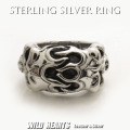 クリックポストのみ送料無料シルバーリング スカルファイヤー 指輪 シルバー925 髑髏  STERLING SILVER RING Skull Ring Slull Fire ring  WILD HEARTS Leather&Silver (ID sr0781r261)