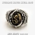 クリックポストのみ送料無料 メンズシルバーリング 死神リング 指輪 シルバー925 髑髏 スカル STERLING SILVER RING Skull Ring WILD HEARTS leather & silver(ID sr0790r254)