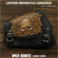 サドルバッグ スイングアーム スカル カービング ハーレー スポーツスター Skull Carved Leather Leather Swing Arm Saddlebag Harley Sportster XL Iron 883N/Forty-Eight WILD HEARTS Leather&Silver (ID sb3580)