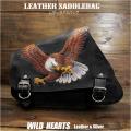 サドルバッグ スイングアーム イーグル カービング ハーレー スポーツスター Eagle Carved Leather Leather Swing Arm Saddlebag Harley Sportster XL Iron 883N/Forty-Eight WILD HEARTS Leather&Silver (ID sb3807)