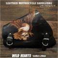 スカル イーグル サドルバッグ スイングアーム カービング ハーレー スポーツスター Skull  Eagle Carved Leather Leather Swing Arm Saddlebag Harley Sportster XL Iron 883N/Forty-Eight WILD HEARTS Leather&Silver (ID sb3956)