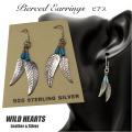 クリックポストのみ送料無料 ピアス シルバー925 ターコイズ フェザー 羽根 イヤリング インディアンジュエリー Native American Style Sterling Silver Pierced feather Earrings Turquoise WILD HEARTS Leather & Silver (ID se1566)
