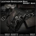 レザー ショルダーバッグ ウエストバッグ ヒップバッグ スカル/ドクロ 2WAY ブラック/黒  Men's Genuine Leather Biker Fanny Pack Waist Bag Shoulder Bag  Skull Concho WILD HEARTS Leather&Silver(ID sb1245r61)