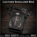 レザー ショルダーバッグ メンズ メッセンジャーバッグ ウエストバッグ 2WAY 本革/牛革 Men's Genuine Cowhide Leather Shoulder Bag Messenger Waist Bag 2WAY WILD HEARTS Leather&Silver (ID sb1244r60)