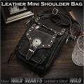 送料無料!レザーショルダーバッグ/ポーチ レザー 牛革 ブラック Best Quality genuine leather Leather Shoulder Travel Bag/Purse WILD HEARTS Leather&Silver (ID sb1243b28)