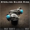 クリックポストのみ送料無料 シルバーリング シルバー925 ターコイズ イーグルフェザー 羽 フリーサイズ ネイティブ Sterling Silver Ring Eagle Feather Native American Style Turquoises WILD HEARTS (ID sr3703)
