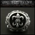 クリックポストのみ送料無料!シルバーリング 指輪 フレア ユリの紋章 シルバー925 Sterling Silver Ring Fleur-de-Lis  (ID sr0774kr304)