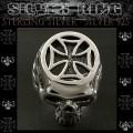 シルバーリング リング 指輪 アイアンクロス 十字架 スカル Sterling Silver Ring Cross Skull (sr0789r60)