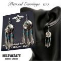 クリックポストのみ送料無料 ネイティブ系シルバーターコイズピアス フックピアス Native American Style Sterling Silver Turquoise Earrings WILD HEARTS Leather & Silver(ID se2471)