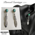 クリックポストのみ送料無料!ターコイズ フェザーピアス シルバー925 インディアンジュエリー風 Turquoise Feather Earrings Native American Style Sterling Silver WILD HEARTS Leather&Silver(ID se4176)