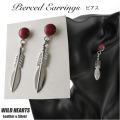 クリックポストのみ送料無料!レッドコーラル/赤珊瑚 フェザー ピアス シルバー925 インディアンジュエリー風 Red Coral Feather Earrings Native American Style Sterling Silver WILD HEARTS Leather&Silver(ID se4178)