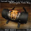 レザー 本革 ツールバッグ カービング  フォークバッグ スカル/バッファロー バイク/ハーレー Cow Skull Carved Leather Tool Bag Mini Saddle Bag Storage Tool Pouch for Motorcycle Harley-Davidson  WILD HEARTS Leather&Silver (ID sb3825)