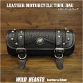 レザー 本革 ツールバッグ フォークバッグ ブラック バスケット柄 コンチョ バイク/ハーレー  Leather Tool Bag Mini Saddle Bag Black Concho Storage Tool Pouch for Motorcycle Harley-Davidson  WILD HEARTS Leather&Silver (ID sb3879)