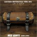 レザー ツールバッグ フォークバッグ 本革 スタッズ付き バイク用/ハーレー カスタム Leather Tool Bag Mini Saddle Bag Black Concho Storage Tool Pouch for Motorcycle Harley-Davidson WILD HEARTS Leather&Silver (ID tb3944)
