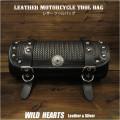 ツールバッグ フォークバッグ レザー 本革 スタッズ付き バイカー/ハーレー ブラック Leather Tool Bag Mini Saddle Bag Black Concho Storage Tool Pouch for Motorcycle Harley-Davidson WILD HEARTS Leather&Silver (ID tb3948)
