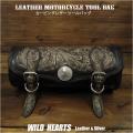 レザー ツールバッグ 本革 フォークバッグ カービング バイク用/ハーレー カスタム Hand Carved Leather Tool Bag Mini Saddle Bag Storage Tool Pouch for Motorcycle Harley-Davidson WILD HEARTS Leather&Silver (ID tb3950)