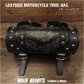 レザー 本革 ツールバッグ カービング  フォークバッグ バイク/ハーレー Hand Carved Leather Tool Bag Mini Saddle Bag Storage Tool Pouch for Motorcycle Harley-Davidson WILD HEARTS Leather&Silver(ID sb3876)