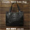 トートバッグ クロコダイル ワニ革 ミニトートバッグ ショルダーバッグ 本革 ユニセックス Crocodile Skin Leather Mini Tote Bag Unisex WILD HEARTS Leather&Silver(ID hcb297)