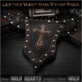 パンクスタイルのオリジナルデザイン!ウエストバッグ/ヒップバッグ/本革/レザー/Men's Genuine Fanny Pack/Waist Bag WILD HEARTS leather & silver (ID wb0732b39)