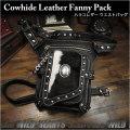 メンズ レザー ウエストバッグ ハラコ/牛毛皮 レッグベルト付き レッグポーチ/バッグ 柄を12種類からお選びください Men's Genuine Leather Biker Fanny Pack Waist Bag Cowhide Concho WILD HEARTS Leather&Silver (ID wb3584t10)