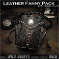 メンズ ライダーズ バイカーズ ウエストバッグ ヒップバッグ レザー 本革 Men's Genuine Leather Motorcycle Hip Waist Bag Fanny Pack WILD HEARTS Leather&Silver (ID wb0731b38)
