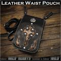 3WAY ベルトポーチ ウエストポーチ/シザーバッグ  ショルダーバッグ レザー 本革 Genuine Leather Waist Pouch Purse Belt Pouch Shoulder bag Travel Bag WILD HEARTS Leather&Silver(ID wp0847r58)