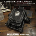 ウエストポーチ ヒップ/ベルト ポーチ レザー/本革/牛革 ウエストバッグ ヒップバッグ Genuine Leather Biker Motorcycle Waist Belt Pouch Belt Loops Purse Hip Fanny pack Medicine Bag WILD HEARTS Leather&Silver(ID wp1471r69)