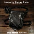 レザー ウエストバッグ レッグポーチ ヒップバッグ 本革 自転車 バイク Genuine Leather Waist Bag Cowhide Leather Fanny Pack Black&Dark Brown WILD HEARTS Leather&Silver (ID wb3650t26)
