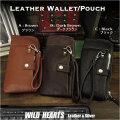 スマホケース付きウォレット ポーチ 本革/牛革 ハンドストラップ付き 3色 Leather Wallet Purse Pouch Smartphone  Case  WILD HEARTS Leather&Silver(ID wp3904r65)