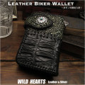 送料無料/一点ものアイテム! ライダーズウォレット クロコダイル/スティングレイ ブラック/黒 シルバー925コンチョ Black Genuine Crocodile Skin Leather Biker Wallet Silver Concho Leather Strap WILD HEARTS Leather&Silver (ID lw3988r34)