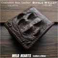 クロコダイル 二つ折り財布 ダークブラウン ワニ革 本革 ショートウォレット Genuine Crocodile Skin Leather Bifold Biker Wallet DarkBrown WILD HEARTS Leather&Silver(ID lw4137)