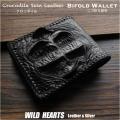 クロコダイル 二つ折り財布 ブラック ワニ革 本革 ショートウォレット Genuine Crocodile Skin Leather Bifold Biker Wallet Black WILD HEARTS Leather&Silver(ID lw4139)
