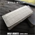 一点もの商品、送料無料! ヒマラヤクロコダイル 長財布 二つ折り 財布 ワニ革 ウォレット ホワイト Himalayan Crocodile Skin Leather Wallet Purse White WILD HEARTS Leather&Silver(ID lw4200r98)