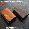 送料無料 栃木レザー 二つ折り財布 カードケース ミニ財布 ウォレット 小銭入れ 日本製 キャメル ダークブラウン Leather Bifold Biker Men's Wallet Handmade Camel DarkBrown WILD HEARTS Leather&Silver (ID sw335r100)