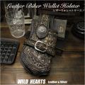 ウォレットケース ウォレットホルダー カービング 長財布 ケース 牛革/レザー ブラック Genuine Leather Biker Wallet Holster Case Hand carved Leather Black WILD HEARTS Leather&Silver(ID lc3334r92)