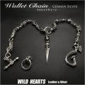 ウォレットチェーン ジャーマン シルバー スカル/ドクロ&ダガー(短剣) Wallet Chain Key Chain German Silver Skull&Cross WILD HEARTS Leather&Silver ( ID wc1818r6 )