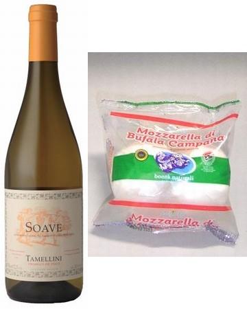 モッツアレッラ・チーズとタメリーニ・ソアヴェ