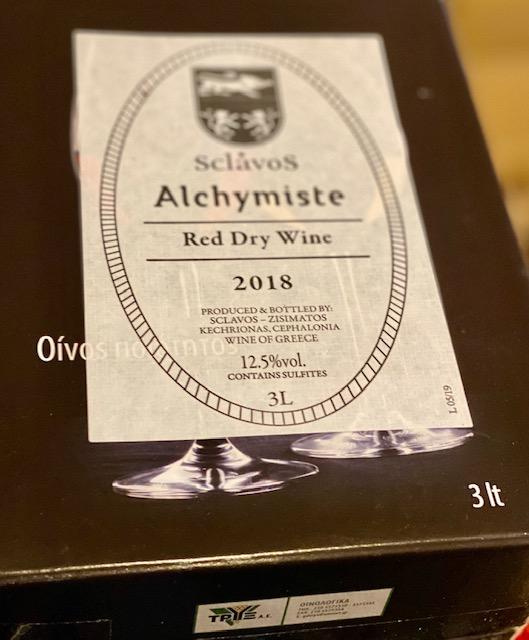 スクラヴォス(ギリシャ)/3リットルBIB(バッグインボックス)VDTアルシミスト 赤 2019年(香ばしくコクのある赤)
