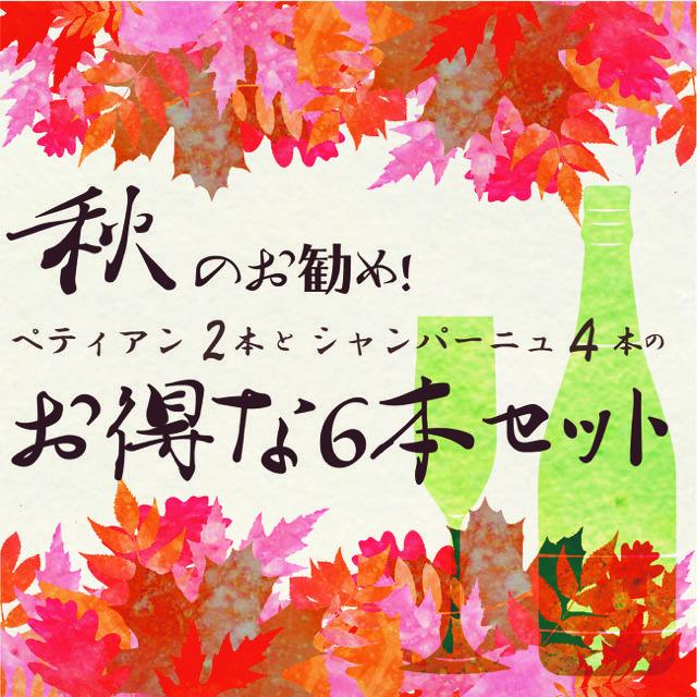 【送料無料】秋もおウチで美味しいワインを!FUJIMARUセレクト「ペティアン2本」 & 「シャンパーニュ4本」お得な泡6本セット
